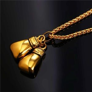 Other - New 18K gold boxing glove necklace